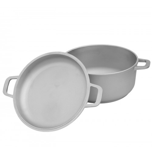 Каструля алюмінієва Біол К702  7,0 л з потовщеним дном та кришкою-сковорідкою