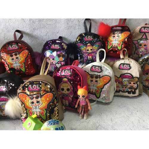 Дитячий рюкзак з паєтками LOL